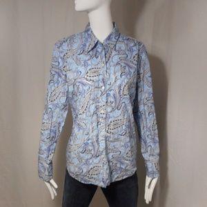~Chaps~ Light Blue Paisley Cotton Button Blouse